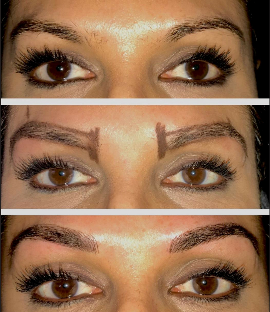 Microblading Before During After on Woman