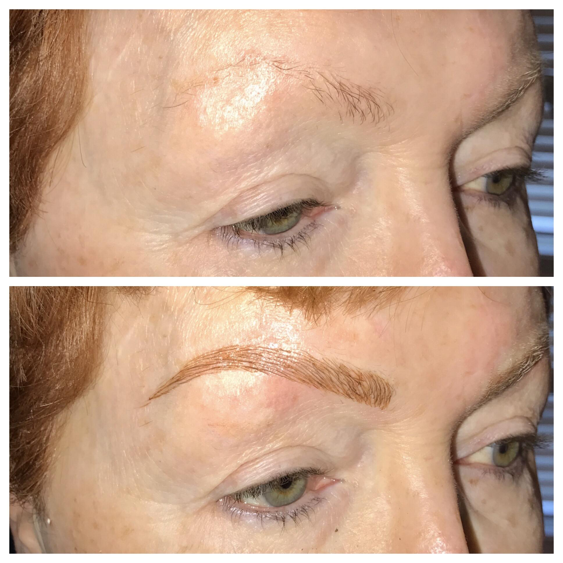Microblading Before After on Woman